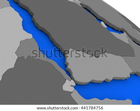 Map of Yemen, Eritrea and Djibouti on 3D model of Earth with countries in various shades of grey and blue oceans. 3D illustration - stock photo