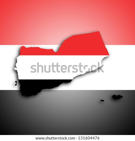 Map of Yemen filled with the national flag - stock photo