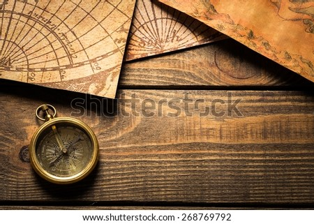 Map. Old compass and vintage maps - stock photo