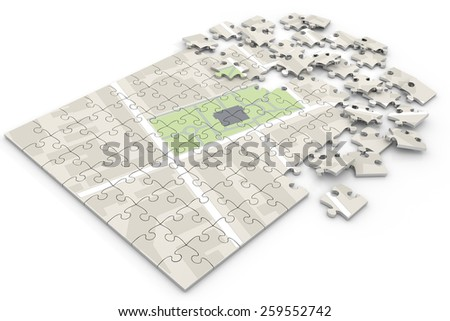 map on puzzle - stock photo