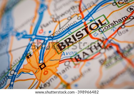 Map Photography: Bristol City on a Road Map - stock photo