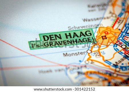 Map Photography: Den Haag City on a Road Map