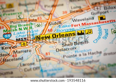 Map Photography: New Orleans City on a Road Map - stock photo