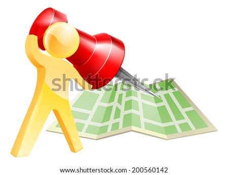 Map pin gold person concept of a gold mascot figure about to mark a location on a map with a giant pin - stock photo