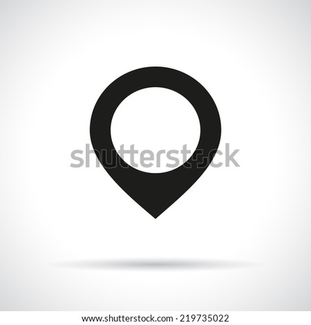 Map pointer icon. Black flat icon with shadow. Vector version is also available in the portfolio. - stock photo