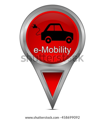 Map pointer with e-Mobility - stock photo