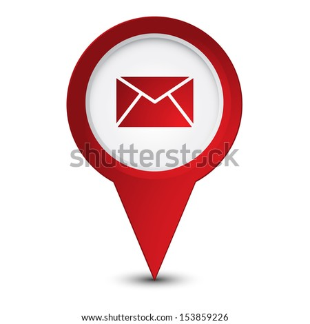 Map pointer with envelope icon