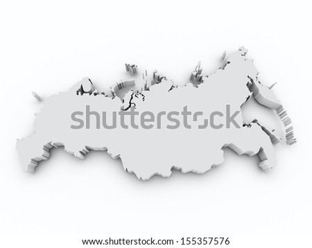 map russia on white isolated - stock photo