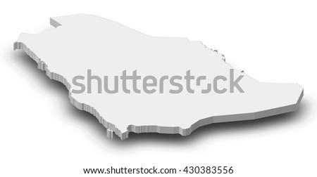 Map - Saudi Arabia - 3D-Illustration - stock photo