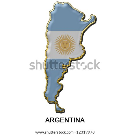 map shaped flag of Argentina in the style of a metal pin badge - stock photo