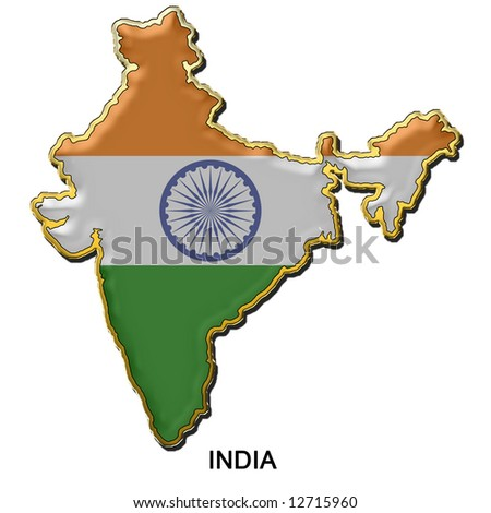 map shaped flag of India in the style of a metal pin badge - stock photo