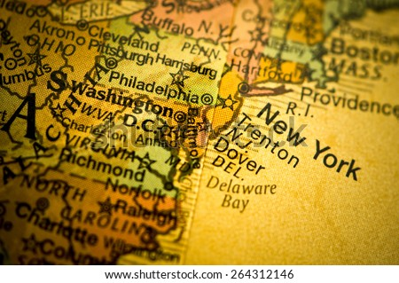 Map Showing New York - stock photo