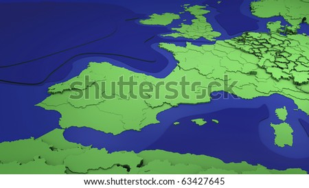 Map showing western Europe countries and North Africa - stock photo