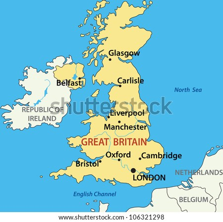 Map United Kingdom Great Britain Northern Stock Illustration - Map of great britain and ireland