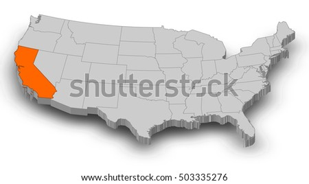 Map United States California Stock Vector Shutterstock - California united states map