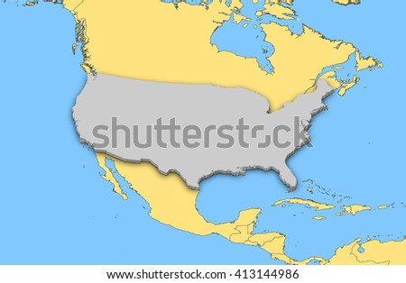 Map - United States - 3D illustration