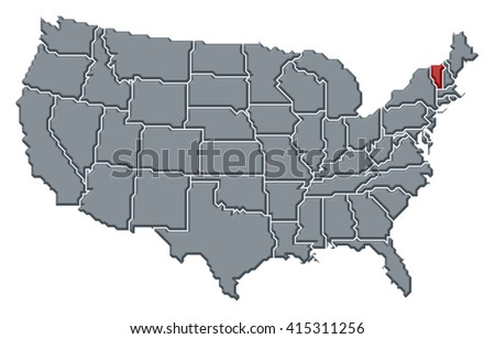 Simplified Vector Map United States America Stock Vector - United states map vermont