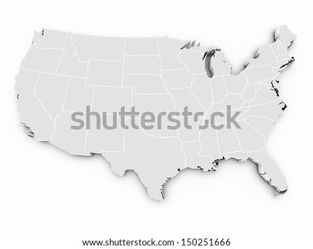 map usa on white isolated - stock photo
