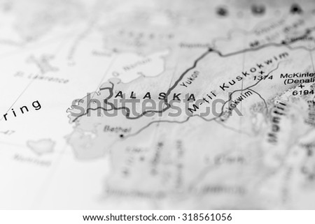 Map view of Alaska state, United States of America. - stock photo