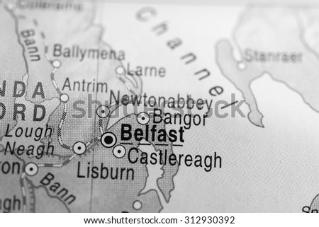 Map view of Belfast - stock photo