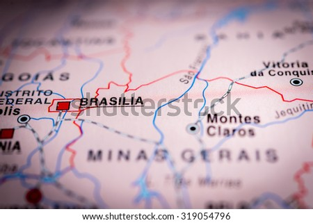 Map view of Brasilia, Brazil. (vignette) - stock photo