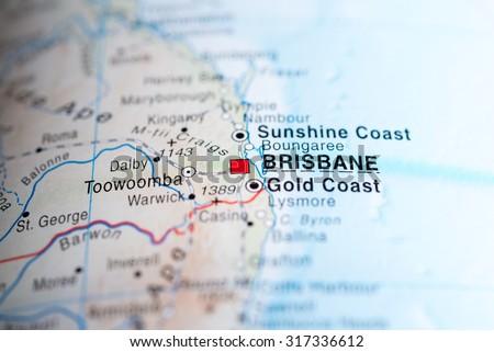 Map view of Brisbane, Australia. - stock photo