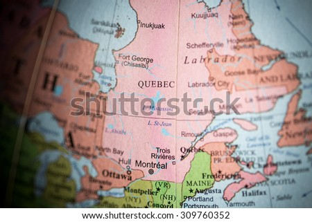 Map view of Canada on a geographical map. - stock photo