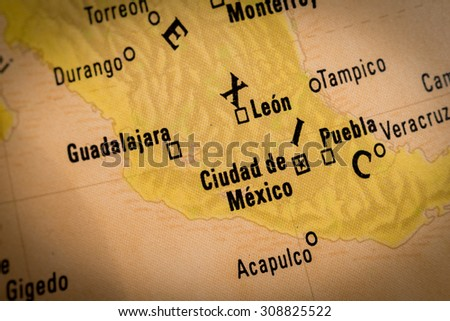 Map view of Ciudad de Mexico on a geographical globe. (vignette) - stock photo