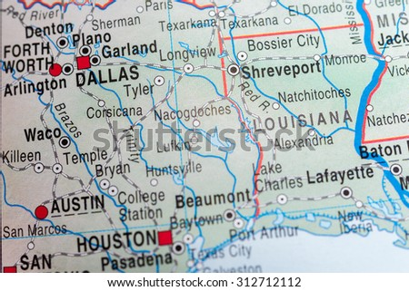 Map view of Dallas - stock photo