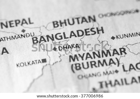 Map view of Dhaka, Bangladesh on a geographical map of Asia. - stock photo