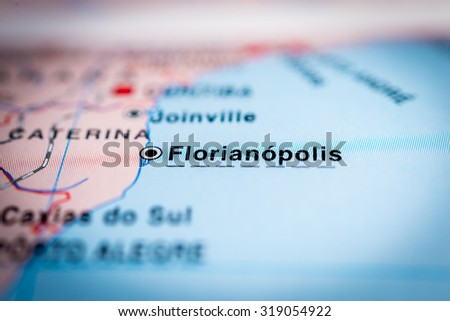 Map view of Florianopolis, Brazil. (vignette) - stock photo