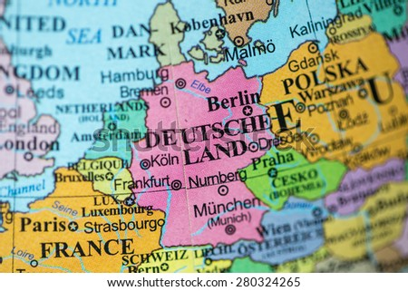 map view of germany on a geographical globe