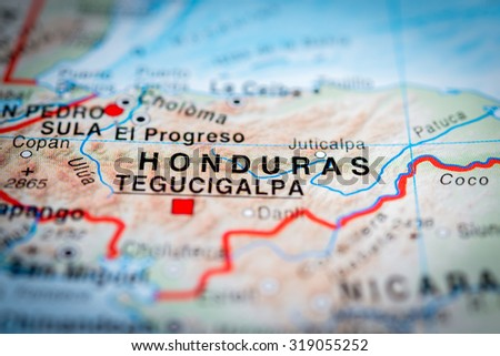 Map view of Honduras state, Central America. (vignette) - stock photo