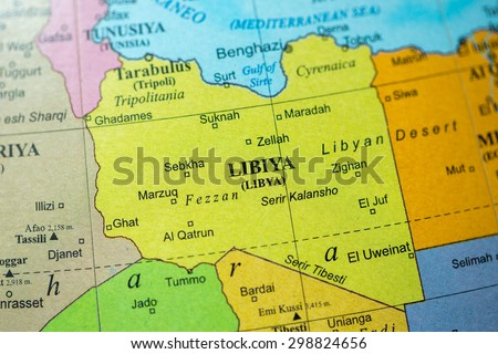 Map view of Libya on a geographical globe. - stock photo