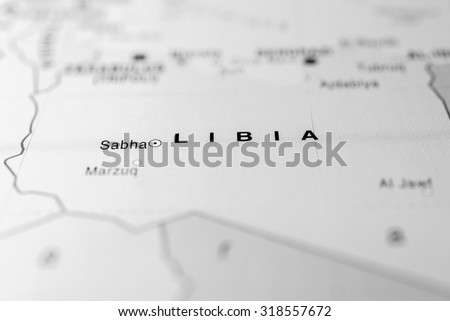 Map view of Libya state, Africa. - stock photo