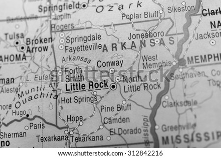 Map view of Little Rock - stock photo