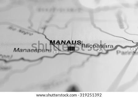 Map view of Manaus, Brazil. - stock photo