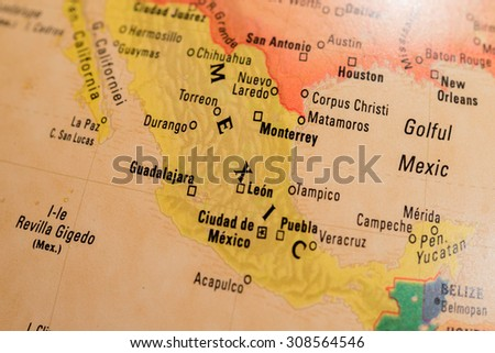 Map view of Mexico on a geographical globe - stock photo