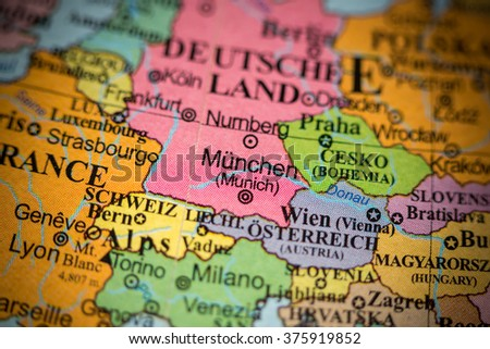 Map View Switzerland On Geographical Globe Stock Photo - Germany map view