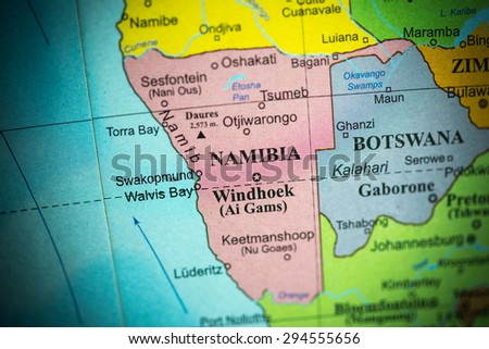 Map view of Namibia on a geographical globe. (vignette)