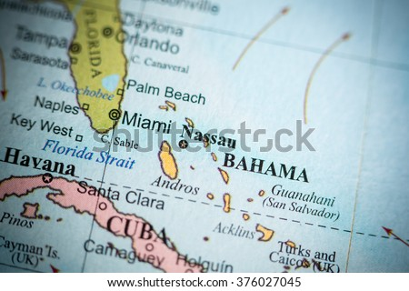 Map View Nassau Bahamas On Geographical Stock Photo (Royalty Free ...