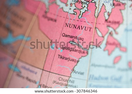 Map view of Nunavut, Canada on a geographical map. - stock photo