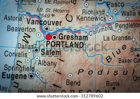 Map view of Portland - stock photo