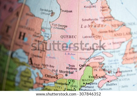 Map view of Quebec, Canada on a geographical map. - stock photo