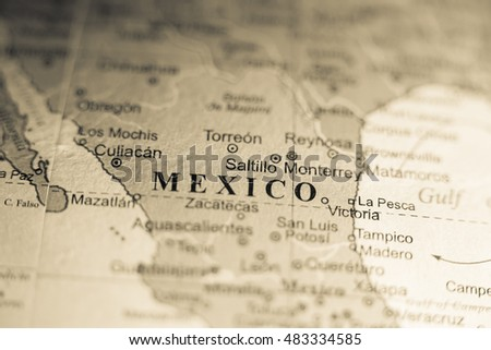 Map View Saltillo Mexico On Geographical Stock Photo Royalty Free