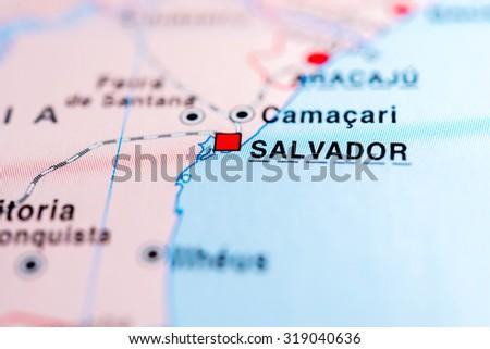 Map view of Salvador, Brazil. - stock photo