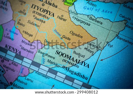 Map view of Somalia on a geographical globe. (vignette)