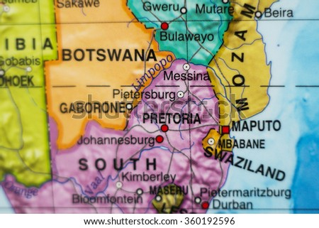 Map view of South Africa on a geographical map .