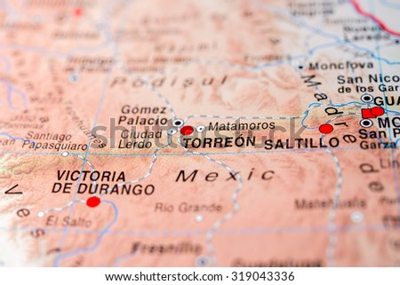 Map view of Torreon, Mexico. - stock photo