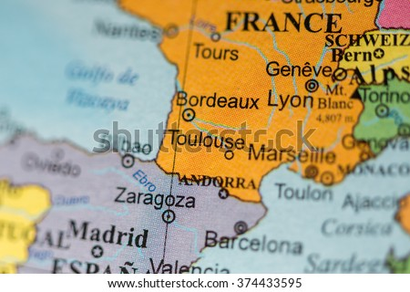 Map View Toulouse France On Geographical Stock Photo Royalty Free